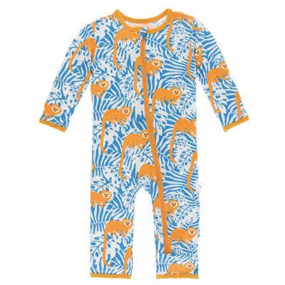 Kickee Pants Print Coverall with Zipper (Tamarin Monkey)