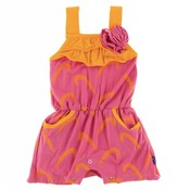 Kickee Pants Print Flower Romper with Pockets (Carnival Feathers)