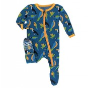 Kickee Pants Print Footie with Zipper (Twilight Tropical Birds)