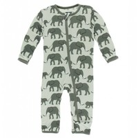 Kickee Pants Print Coverall with Zipper (Aloe Elephants)