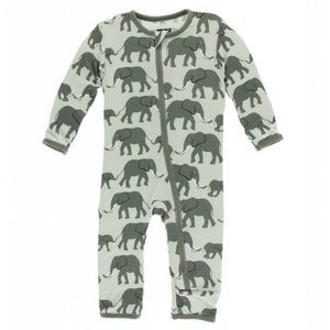 Kickee Pants Print Coverall with Zipper (Aloe Elephants)