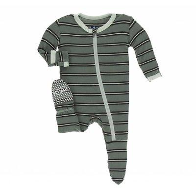 Kickee Pants Print Footie with Zipper (Succulent Kenya Stripe)
