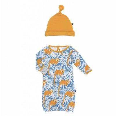Kickee Pants Print Layette Gown & Single Knot Hat Set (Tamarin Monkey)