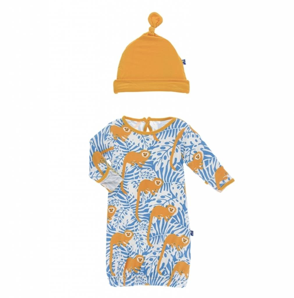 Print Layette Gown & Single Knot Hat Set (Tamarin Monkey) - Lincoln&Lexi