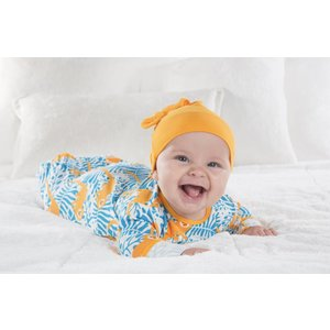 Kickee Pants Print Layette Gown & Single Knot Hat Set (Tamarin Monkey)