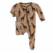 Kickee Pants Print Footie with Zipper (Suede Giraffes)