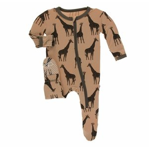 Kickee Pants Print Footie with Zipper (Suede Giraffes)