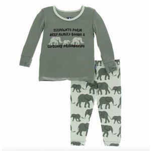 Kickee Pants Print Long Sleeve Pajama Set (Aloe Elephants)