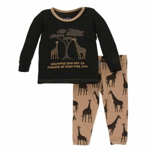 Kickee Pants Print Long Sleeve Pajama Set (Suede Giraffe)