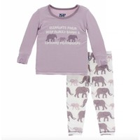 Kickee Pants Print Long Sleeve Pajama Set (Natural Elephants)