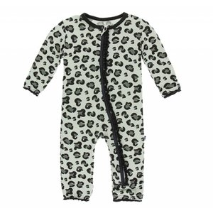 Kickee Pants Print Muffin Ruffle Coverall with Zipper (Aloe Cheetah Print)