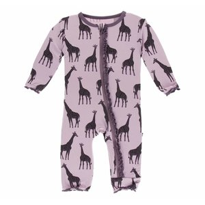 Kickee Pants Print Muffin Ruffle Coverall with Zipper (Sweet Pea Giraffe)