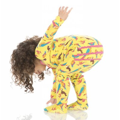 Kickee Pants Print Muffin Ruffle Footie with Zipper (Banana Tropical Birds)