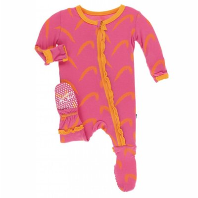 Kickee Pants Print Muffin Ruffle Footie with Zipper (Carnival Feathers)