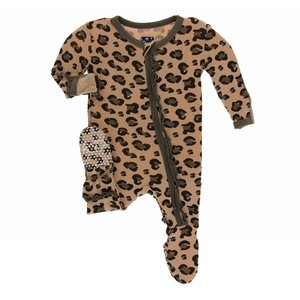 Kickee Pants Print Muffin Ruffle Footie with Zipper (Suede Cheetah Print)