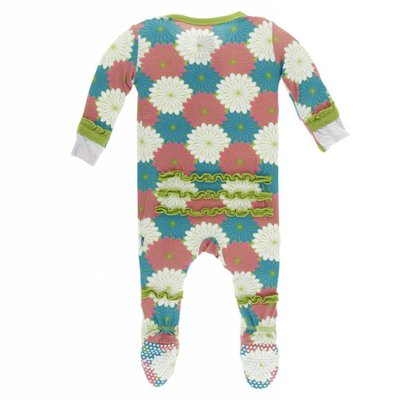 Kickee Pants Print Muffin Ruffle Footie with Zipper (Tropical Flowers)