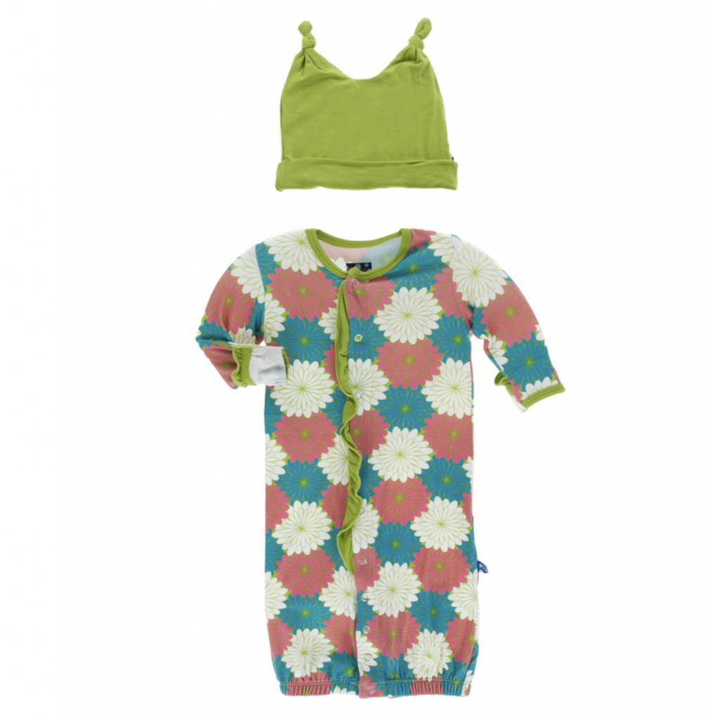 Kickee Pants Print Ruffle Layette Gown Converter and Double Knot Hat ...