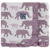 Kickee Pants Print Ruffle Stroller Blanket (Natural Elephants - One Size)
