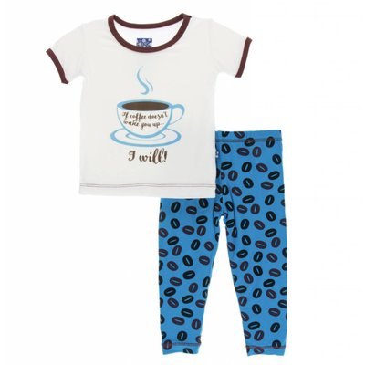 Kickee Pants Print Short Sleeve Pajama Set (Amazon Coffee Beans)