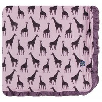 Kickee Pants Print Ruffle Toddler Blanket (Sweet Pea Giraffe - One Size)