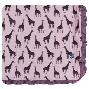 Kickee Pants Print Ruffle Toddler Blanket (Sweet Pea Giraffe - One Size)