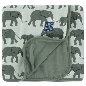 Kickee Pants Print Stroller Blanket (Aloe Elephants - One Size)