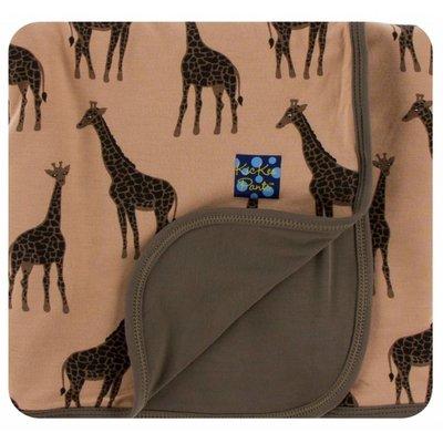 Kickee Pants Print Stroller Blanket (Suede Giraffes - One Size)