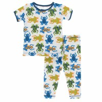 Kickee Pants Print Short Sleeve Pajama Set (Amazon Frogs)