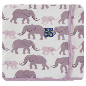 Kickee Pants Print Swaddling Blanket  (Natural Elephants - One Size)