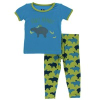 Kickee Pants Print Short Sleeve Pajama Set (Meadow Capybara)