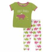 Kickee Pants Print Short Sleeve Pajama Set (Natural Capybara)