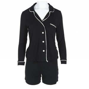 Kickee Pants Solid Women's Collared Pajama Set with Shorts (Midnight with Natural)