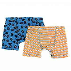 Kickee Pants Boxer Briefs Set (Tamarin Brazil Stripe and Amazon Coffee Beans)