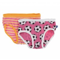 Kickee Pants Girl Underwear Set (Flamingo Brazil Stripe and Flamingo Soccer)