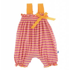 Kickee Pants Print Gathered Romper with Bow (Flamingo Brazil Stripe)