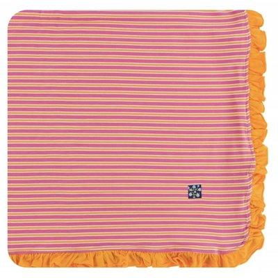 Kickee Pants Print Ruffle Toddler Blanket (Flamingo Brazil Stripe)