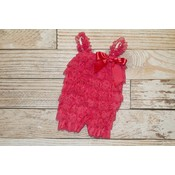 Lincoln&Lexi Solid Lace Romper (Strawberry)