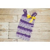 Lincoln&Lexi Stripe Lace Romper (Purples with Yellow Bow)