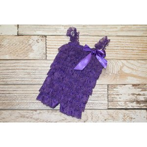 Lincoln&Lexi Solid Lace Romper (Purple)