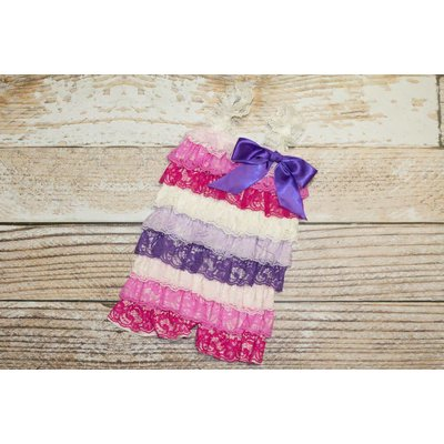 Lincoln&Lexi Stripe Lace Romper (White,Pinks&Purples)