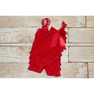 Lincoln&Lexi Solid Lace Romper (Red)