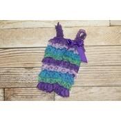 Lincoln&Lexi Stripe Lace Romper (Purple,Lavender,Aqua)