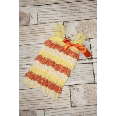 Stripe Lace Romper (Candy Corn)