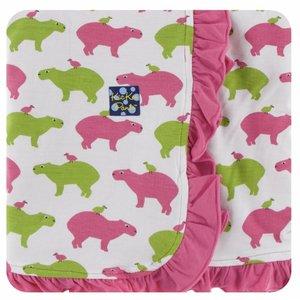 Kickee Pants Print Ruffle Stroller Blanket (Natural Capybara)