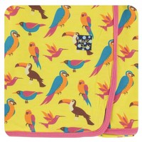 Kickee Pants Print Swaddling Blanket (Banana Tropical Birds)