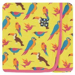 Kickee Pants Print Swaddling Blanket (Banana Tropical Birds)