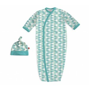 Magnificent Baby Green Mod Fish Modal Magnetic Gown & Hat Set