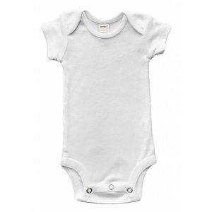 Monag Baby Rib Short Sleeve Bodysuit (White)