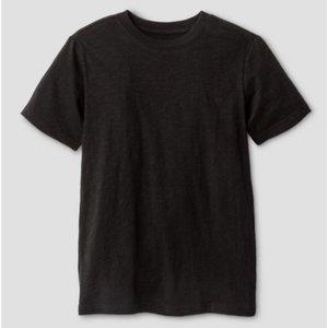 Monag Cat&Jack Boys' Classic Slub Short Sleeve T-Shirt (Black)
