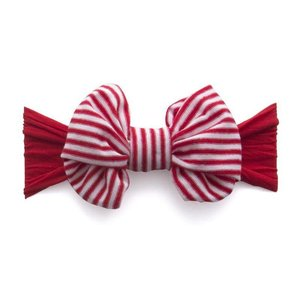 Baby Bling Jersey Bow (Cherry/Red Stripe)
